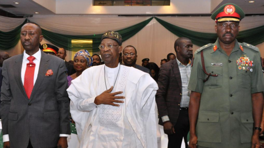 From left: The National Security Adviser, Major General Babagana Mohammed Monguno (Retired), Minister of Information and Culture, Alhaji Lai Mohammed, and representative of Chief of Defence Staff, Major General  A Mohammed at the Public Presentation of Policy Framework and National Action Plan for Preventing and Countering Violent Extremism in Abuja on Tuesday.