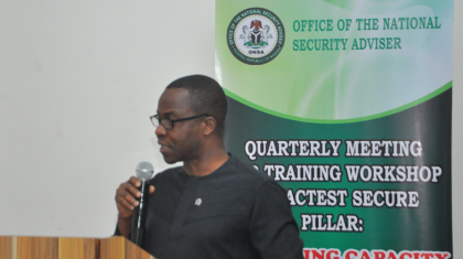 Coordinator, Counter Terrorism Centre (CCTC), Commodore YEM Musa addressing participants at the recently held NACTEST Secure Pillar quarterly meeting and training workshop held in Abuja.