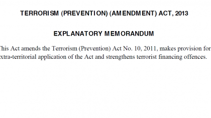 Terrorist Prevention Amendment